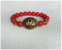 Браслет из натуральных камней красный коралл BD2601