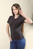 Блузка женская темно-серого цвета из вискозы с коротким рукавом, распродажа. Модель 233 Mirabelle.