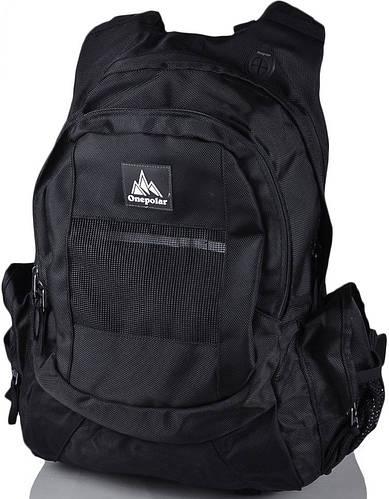 Мужской качественный треккинговый рюкзак ONEPOLAR (ВАНПОЛАР) W918-black чёрный