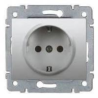 Розетка электрическая 2К+З (16А, 250В , автоматические клеммы, немецкий стандарт в комплекте с лицевой панелью