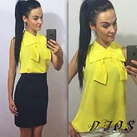 Блузка Желтая шифоновая с бантом