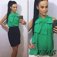 Блузка Зеленая шифоновая с бантом