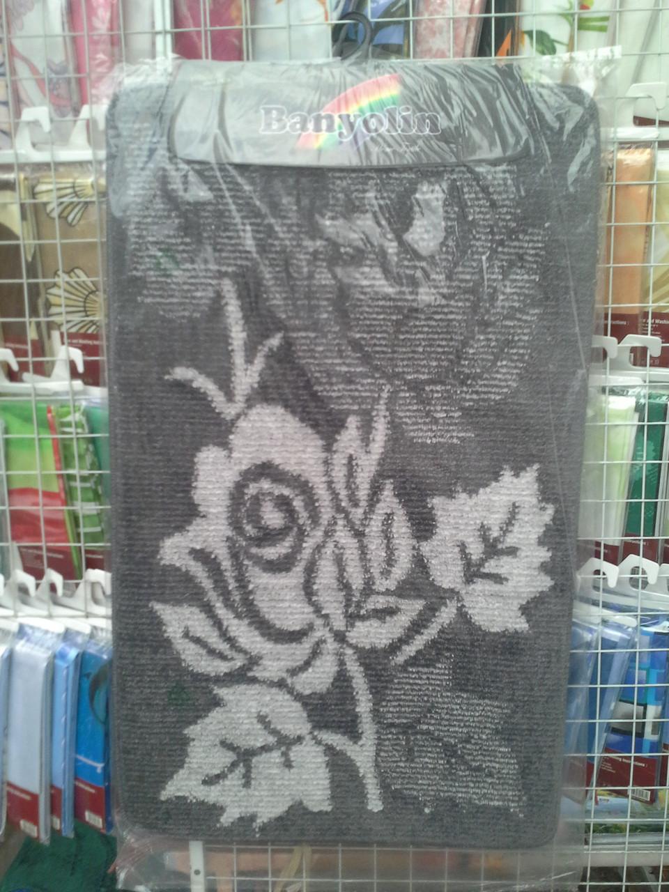 Мягкий коврик для туалета 50x50 см Checks black VERRAN