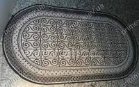 Безворсовый ковер-рогожка Karat Natura завитки кремовый с черным