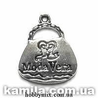 """Метал. подвеска """"сумочка"""" серебро (2х2,4 см) 5 шт в уп."""