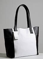 Женская кожаная сумочка. Модель 03 черно-белый флотар