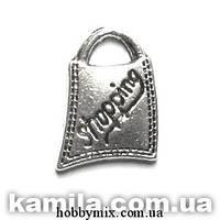 """Метал. подвеска """"сумочка"""" серебро (1,7х1,2 см) 12 шт в уп."""