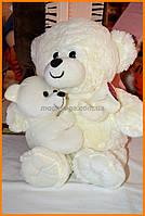 Мишка с медвежонком 35 см белый | Мягкий плюшевый мишка