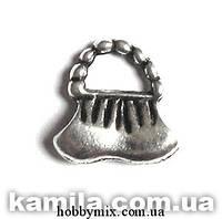 """Метал. подвеска """"сумочка"""" серебро (1,4х1,5 см) 8 шт в уп."""
