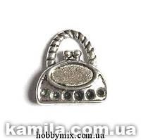 """Метал. подвеска """"сумочка"""" серебро ( 1,2х1,5 см) 12 шт в уп."""