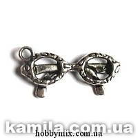 "Метал. подвеска ""очки"" серебро (2,2х1 см) 8 шт в уп."