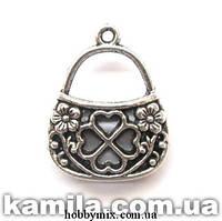 """Метал. подвеска """"сумочка"""" серебро (2,8х2,4 см) 2 шт в уп."""