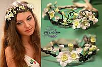 """""""Весенний веночек"""" украшения для волос с цветами из полимерной глины"""