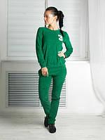 """Костюм спортивный женский """"3"""", зеленый, ткань: велюр"""