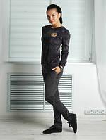 "Костюм спортивный женский ""Teddy"", темно-серый, ткань: велюр"