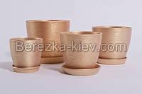 Горшок керамический цвет золото (диаметр 10 см.)