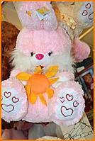 Мягкая игрушка заяц 42 см | красивый мягкий зайка с цветком