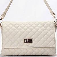 Женская сумка - клатчик Gilda Tohetti  в мелкую стежку бежевого цвета