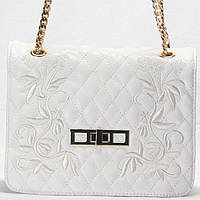 Женская сумка - клатч Gilda Tohetti  белый стеганный с вышивкой