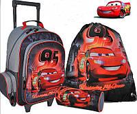 Комплект Ранец школьный на колёсах Тачки+пенал+сумка