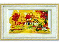 Картина со стразами 5D Осенний дом 73*51 см Код 198259
