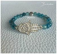 Браслет голубой из натуральных камней агат  с Рукой Фатимы или Хамса BD3013