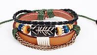 Кожаный браслет с деревянными бусинами (tb2044)