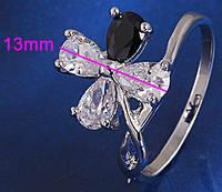 Кольцо белая позолота с цирконием (GF69) размер 17
