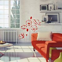Наклейка виниловая Red Flowers Красные Цветы
