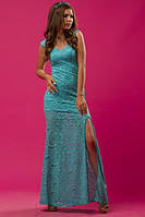 Голубое ( бирюзовое) вечернее платье в пол