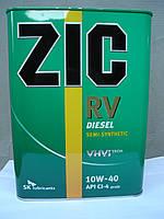 Полусинтетическое моторное масло ZIC RV Diesel 10W40 (4 литра) Сертификат