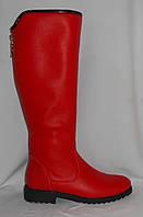 Красные женские зимние сапоги из натуральной кожи с молнией сзади на низком ходу