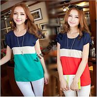 Стильная шифоновая блузка- майка три цвета