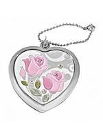 """Зеркало карманное сердечко 6 см. """"Jardin d'ete - Сердце"""" розовое, металлическое со стразами"""