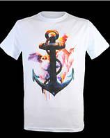 Стильная футболка с морским принтом якорь