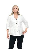 Женский пиджак большого размера Белый хлопковый