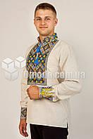 Вишиванка мужская домотканое полотно лён Тризуб