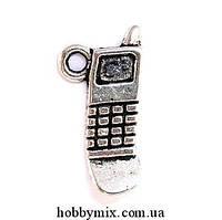 """Метал. подвеска """"мобильник"""" серебро (1х2 см) 12 шт в уп."""