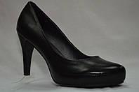 Черные кожанные туфли Erisses на каблуке и скрытой платформе