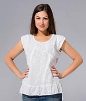 Блузка женская белая с вышивкой, хлопок, Индия, 44-48 р-ры