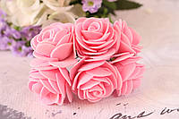 Букетик розочек 4 см диаметр 6 шт/уп. розового цвета на стебле