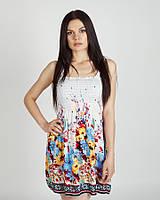 Летний яркий сарафан, мини, белый с цветочками