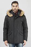 Мужские куртки на синтепоне зимние удлиненные, натуральный мех на капюшоне
