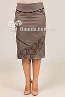 Женская прямая юбка Ева котон бежевого цвета