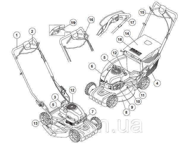 Составные части бензиновой газонокосилки с травосборником и без, модель самоходного типа.
