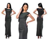 Платье Длинное вечернее с камнями черное