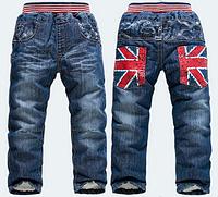 Стильные джинсы на меху для мальчика 2-3 года