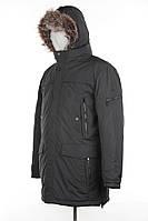 Мужская длинная куртка, капюшон из меха енота
