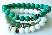 Набор браслетов из натуральных камней нефрит и агат
