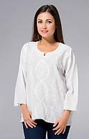 Блузка женская белая с вышивкой, хлопок, Индия, 44-50 р-ры